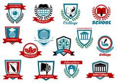School, University or College Logo Graphic Design Stock Illustration