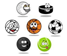 Assorted Cartooned Game Balls with Happy Faces - stock illustration