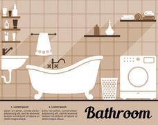 Bathroom interior decorating template - stock illustration