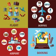Aviation, airport and travel concept flat designs Stock Illustration