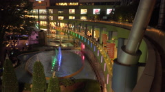 4k panning shot across the open courtyard of a mall in Japan near Chirstmas Stock Footage