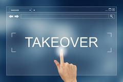 hand press on takeover button on website - stock photo