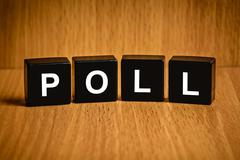 Poll word on black block - stock photo