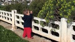 Baby explores plants Stock Footage