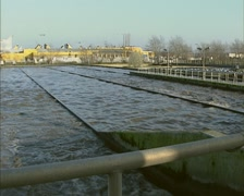 Inlet waste water in phosphorus removal basin of sewage treatment plant Stock Footage