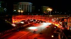 Red light projector during Euro maidan Memory days in Kiev, Ukraine. Stock Footage