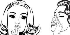 Stock Illustration of pop art retro women in comics style that gossip