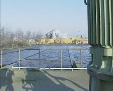 phosphorus removal basin of sewage treatment plant + pan electric motor pump - stock footage