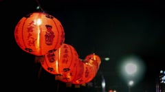 National street decoration, Chinese red paper lanterns illuminate the street. Stock Footage