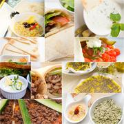 Arab middle eastern food collage - stock photo