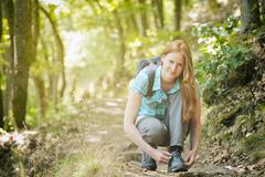 Woman Hiker in Forest Stock Photos