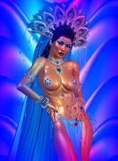 Asian woman, abstract colors. Feather head dress and body jewels. - stock illustration