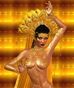 Asian woman with sexy body, belly dancing, gold abstract background. - stock illustration