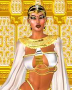 White Queen. Egyptian digital art fantasy image of a goddess in white and gold. Stock Illustration