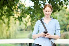 Woman Sending or Receiving a Message Stock Photos