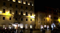 Types of Rome. Piazza della Rotonda by night. Stock Footage