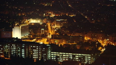 Athens center,downtown, wide aerial view at night,traffic,buildings. - stock footage