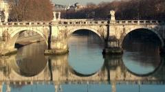 Bridge of Hadrian (Ponte Sant'Angelo). Rome Stock Footage