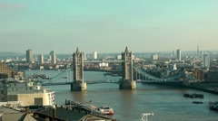 Iconic London Tower Bridge high viewpoint Stock Footage