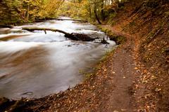 Autmn path near river Stock Photos
