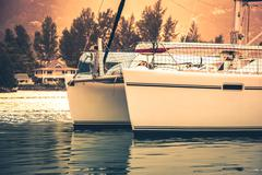 Recreational Yacht in sunlight haze Stock Photos