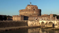 Castel Sant'Angelo viewed from the other side of the Tiber river. Rome Stock Footage