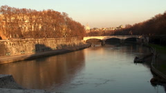 Bridge Ponte Umberto I over the river Tiber. Rome Stock Footage