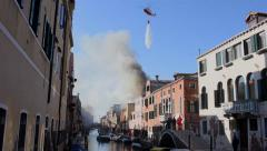 Firefighters helicopter in Venice, Italy Stock Footage