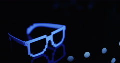 Sun Glasses Awkward Glow Blue Focus Change - stock footage