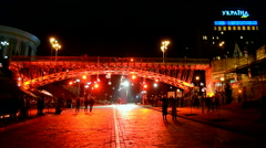 Red illumination during Euro maidan Memory days in Kiev, Ukraine. Stock Footage