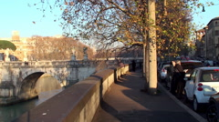 View of the waterfront Tiber Altoviti  & the Bridge of Hadrian. Stock Footage