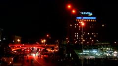 Red light illumination during Euro maidan Memory days in Kiev, Ukraine. Stock Footage