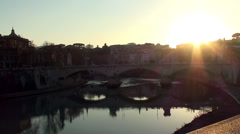 Ponte Vittorio Emanuele II at sunset. Rome Stock Footage