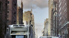 Empire State Building ambulance firetruck police tape panning Manhattan NYC Stock Footage