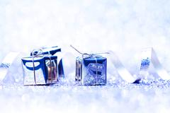 Silver holiday gifts - stock photo