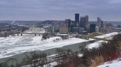 Winter Pittsburgh Establishing Shot - stock footage
