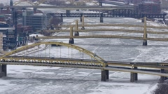Winter Pittsburgh Establishing Shot Stock Footage