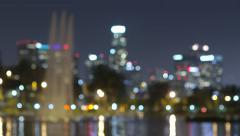 Los Angeles Night Skyline Rack Focus - stock footage