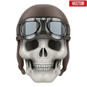 Human skull with retro aviator or biker helmet Stock Illustration