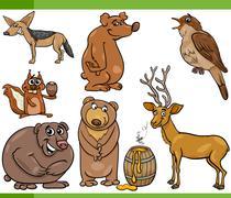 wild animals cartoon set illustration - stock illustration