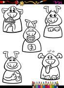 Stock Illustration of dog emotion set cartoon coloring book