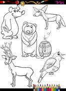 animals set cartoon coloring page - stock illustration