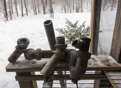 Corroded galvanized home drainpipe Stock Photos