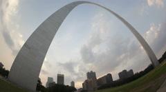 4K Time lapse Gateway Arch St. Louis fisheye view Stock Footage