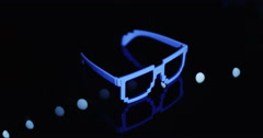 Sun Glasses Awkward Glow Still Blue 2 - stock footage