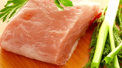 Fresh meat turns in  studio Stock Footage