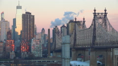 Beautiful shot of Manhattan New York skyline with Queensboro Bridge and Queens Stock Footage