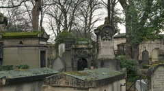 Paris - Pere Lachaise Cemetery Statue of Mary Stock Footage