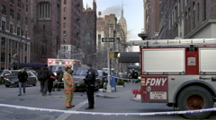 Police officer fireman Empire State Building police tape slow motion 4K NYC Stock Footage