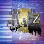 abstract grunge background with word Jazz - stock illustration